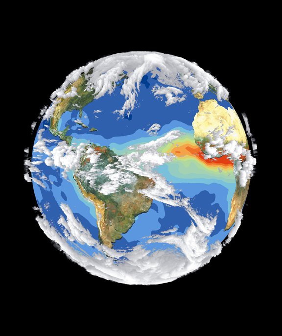 An image of the earth's interrelated systems and climate created by four different satellites. The average temperature of the earth's surface has risen by 0.74 degrees Celsius since the late 1800s.
