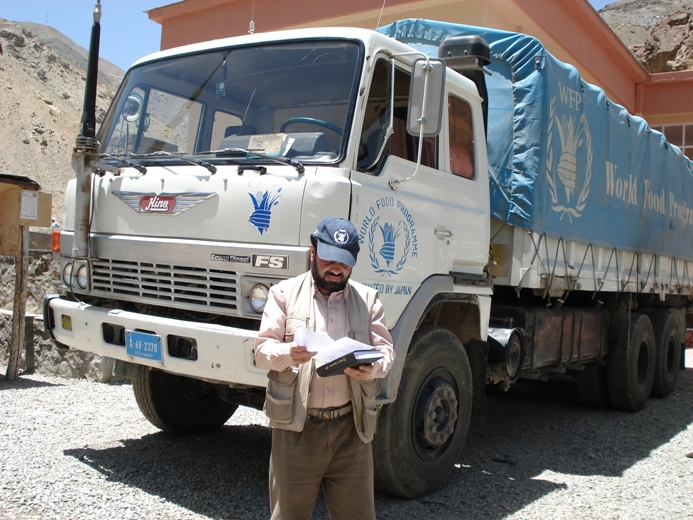 WFP imports food supplies into Afghanistan through Pakistan via trucks.