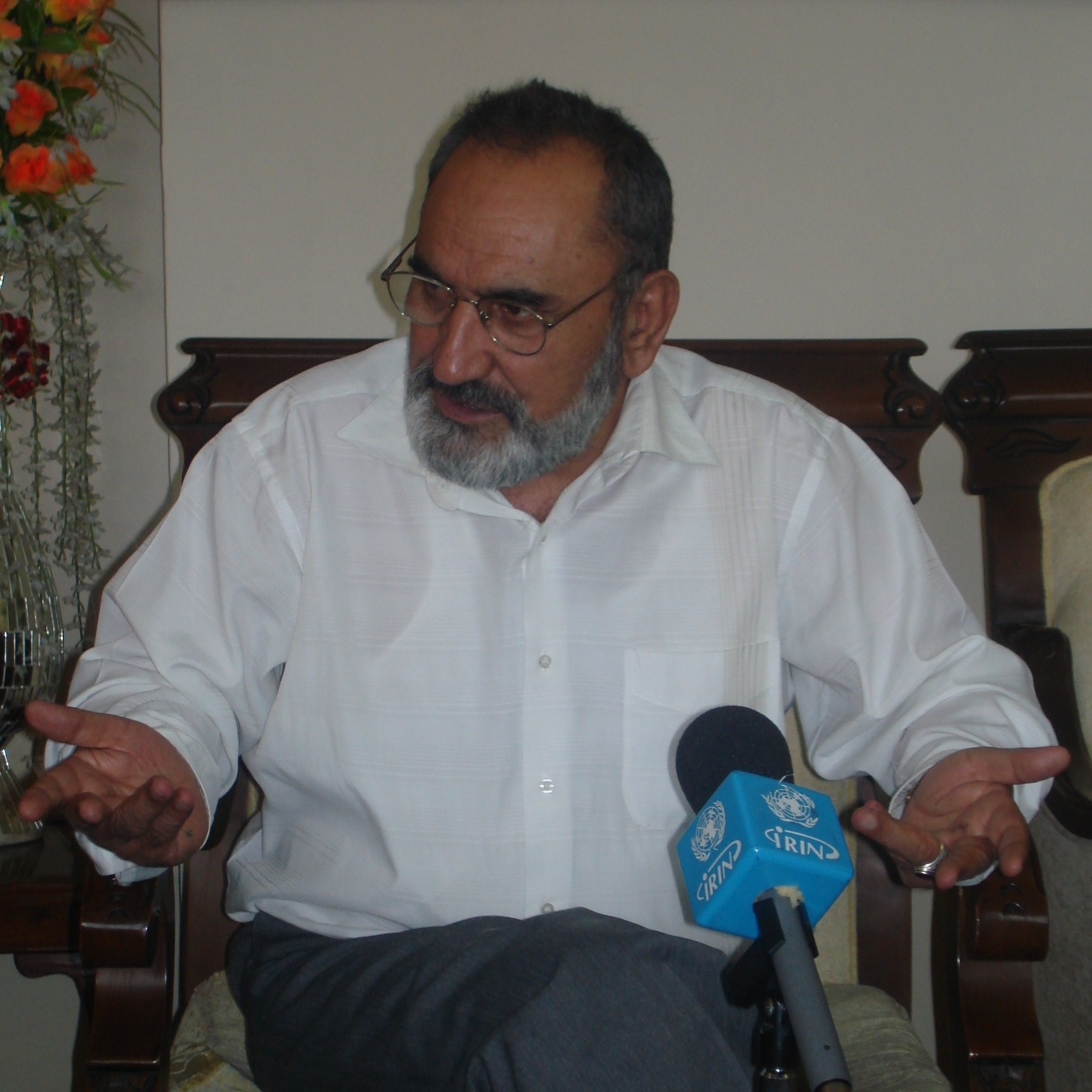 Afghanistan Minister of Refugees and Returnees during an interview with IRIN in Kabul on 7 September 2008.