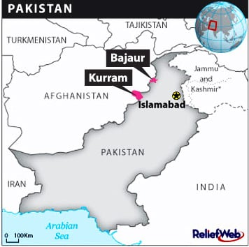 Map of Pakistan showing Kurram and Bajaur in the troubled northwestern FATA areas bordering Afghanistan.