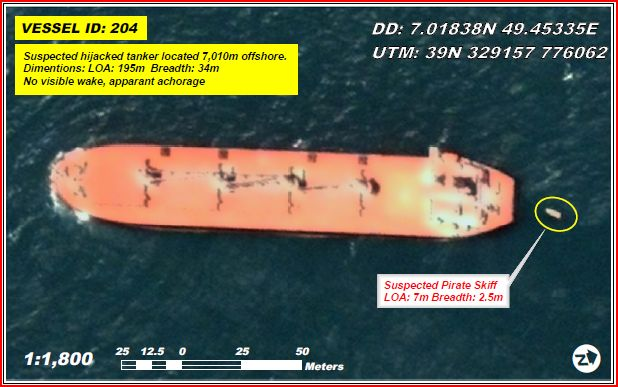 Satellite image from UNOSAT of a suspected hijacked tanker at anchor off the Somali coast at Garacad, near Eyl, Puntland, September 2008. More: http://unosat.web.cern.ch/unosat/asp/prod_free.asp?id=28
