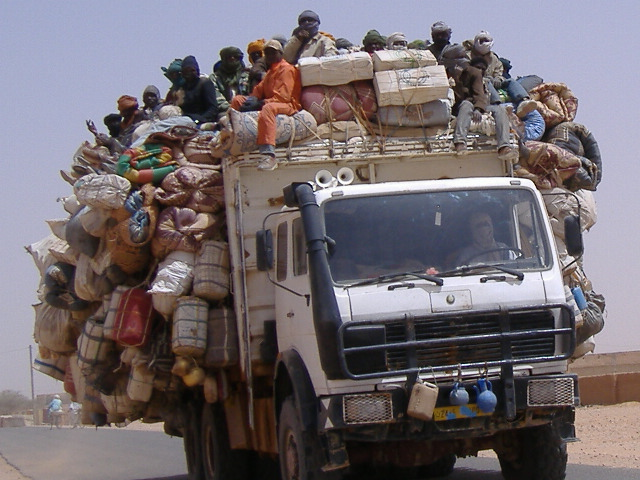 A truck of smuggled migrants leaving Agadez to cross the Sahara desert into Libya and Algeria.