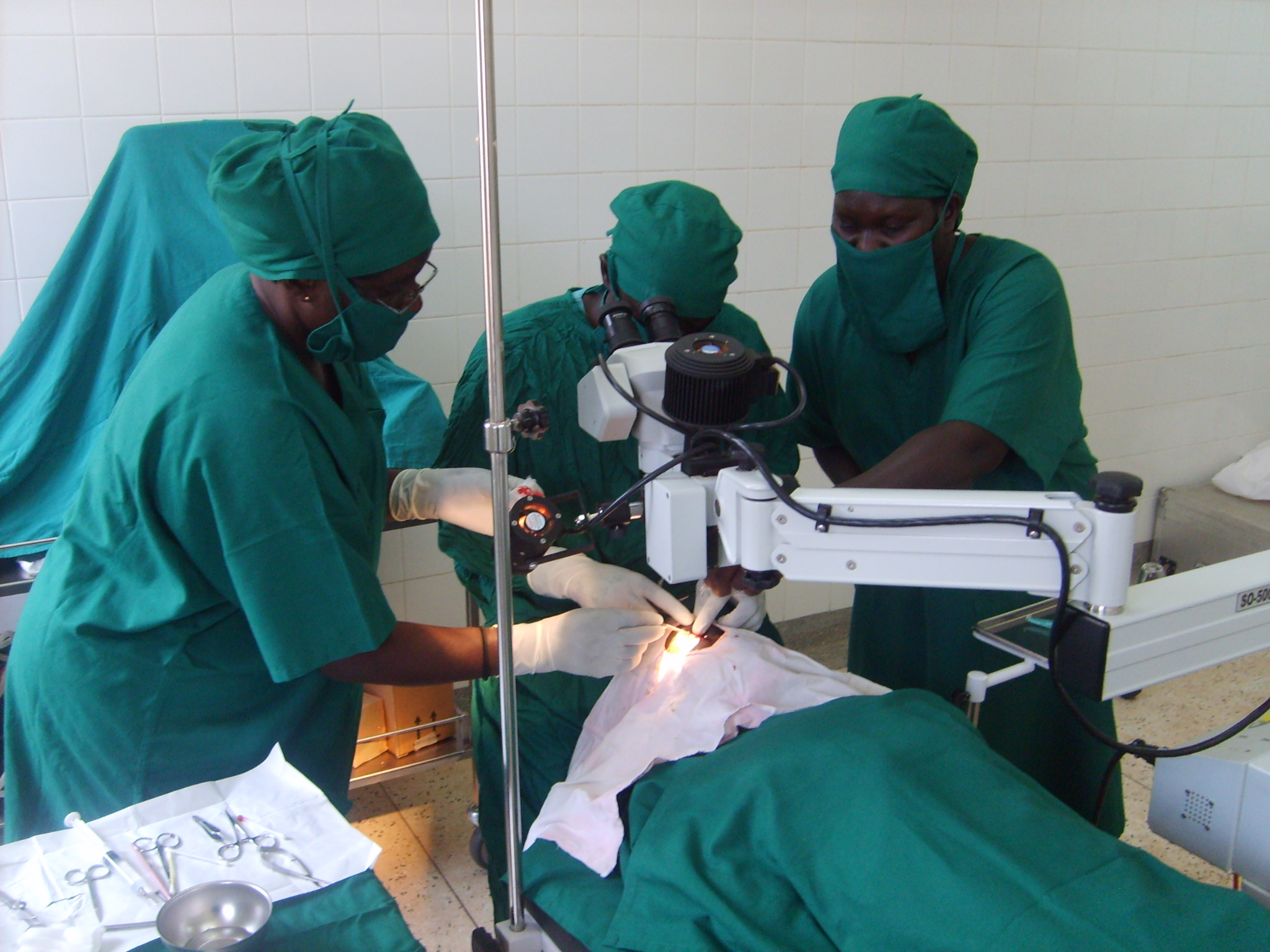 Surgeons conduct an eye operation at the Gulu district hospital in northern Uganda.