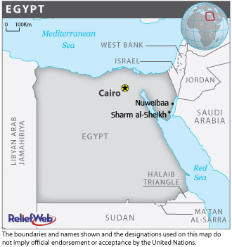 A map of Egypt highlighting Sharm al-Sheikh and Nuweibaa in the Sinai Peninsula