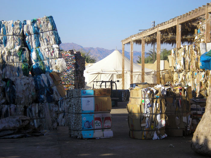 Compressed waste in Nuweibaa, Sinai. The estimated 30,000 Bedouins in the Sinai peninsula have had to contend with severe drought over the past few years, and this has forced them to change their lifestyles. Collecting and selling bulk rubbish has become