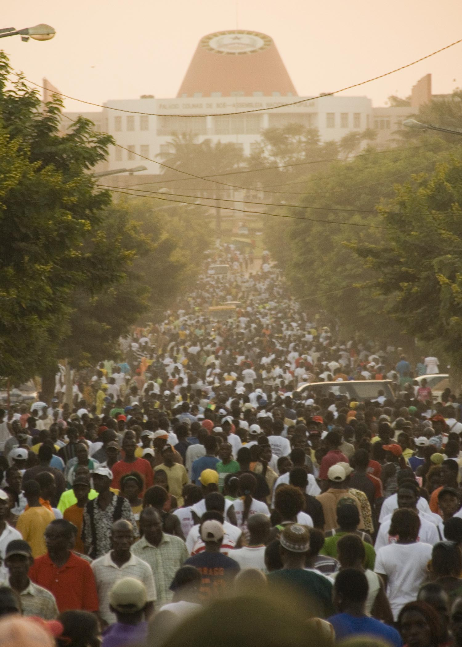 Pre-election march through capital, Bissau, to National Assembly building. November 15 2008
