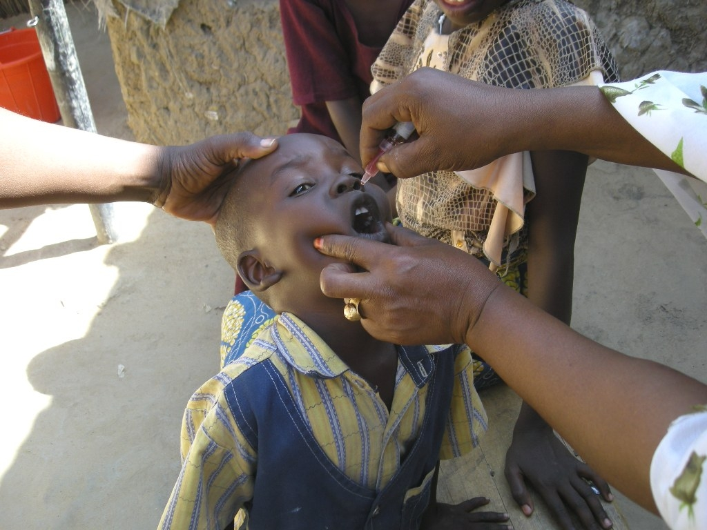 A child receiving polio vaccination in the Sabangali area of the Chadian capital N'djamena, during a vaccination drive started in November 2008.