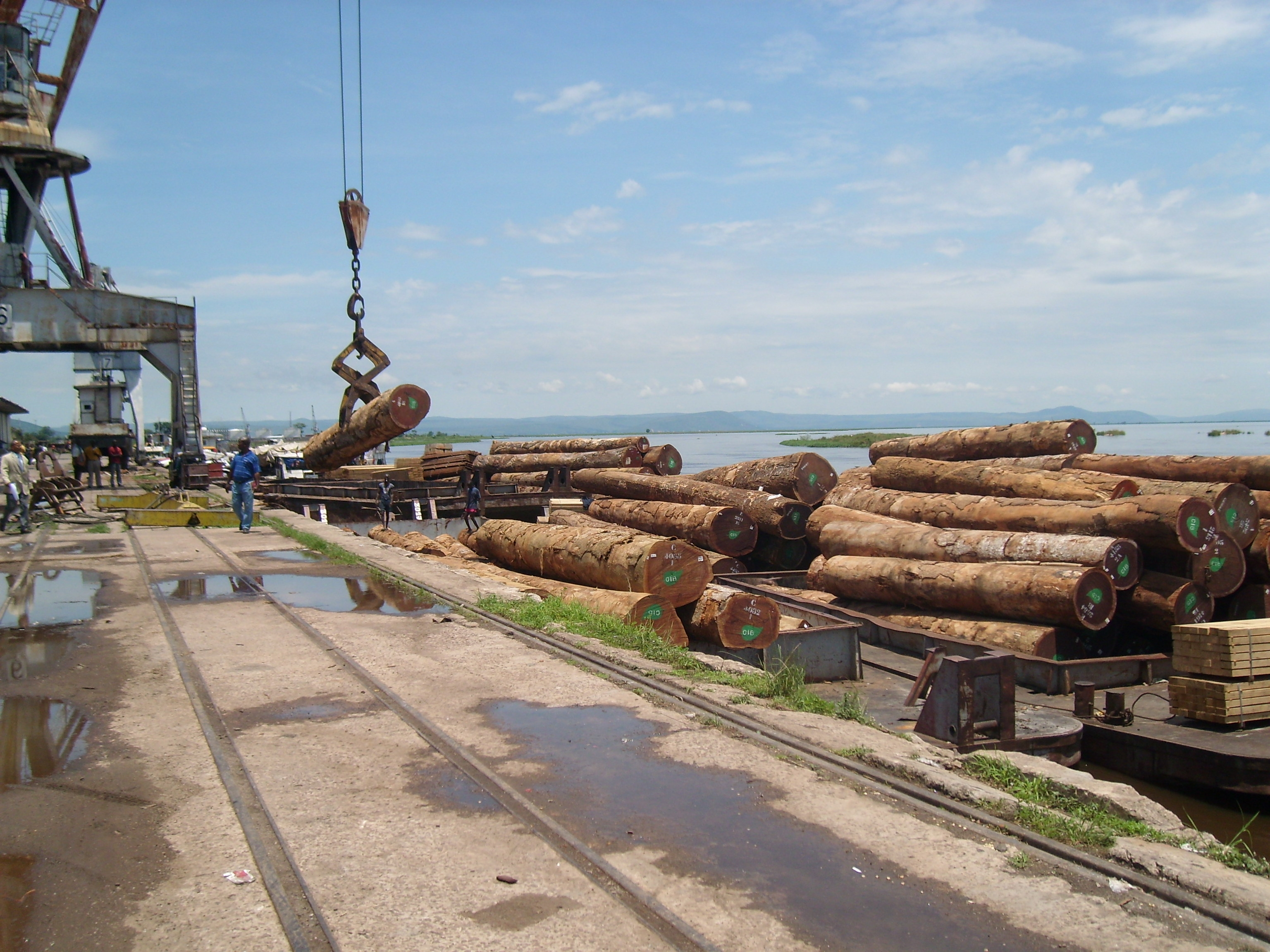 Timber destined for export at Brazzaville river port. The forestry sector is Congo's second biggest earner of foreign currency after oil and has given employment to some 10,000 people over the past decade, making it the country's second biggest employer