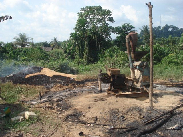 In the locality of Zeaglo in western Cote d'Ivoire -- a mill destroyed when youths attacked neighbourhoods of immigrant farmers. November 2008