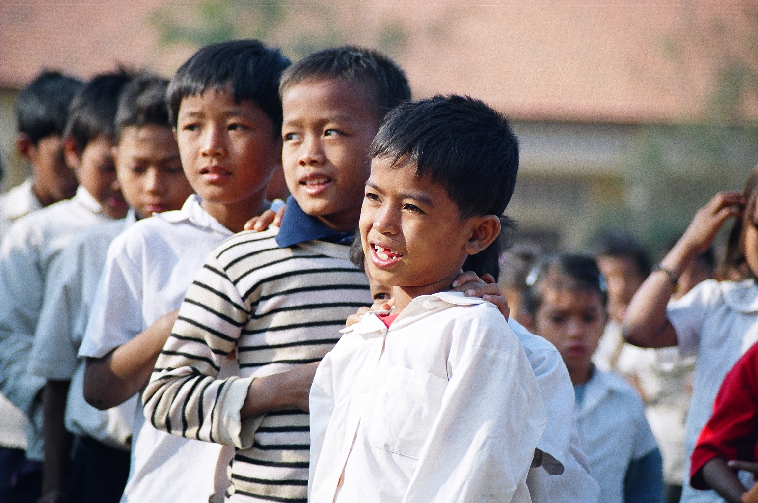 School children in Cambodia. Corruption within the country's education system is reportedly rampant