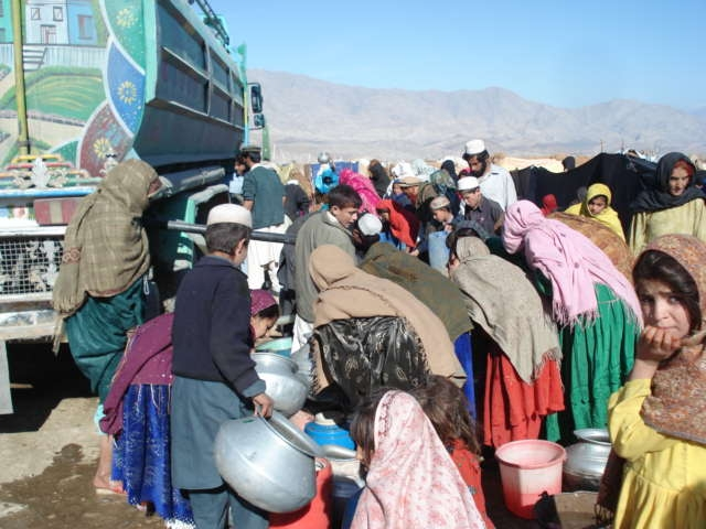 The government delivers drinking water by tankers to the residents of Chemtala makeshift camp on daily basis