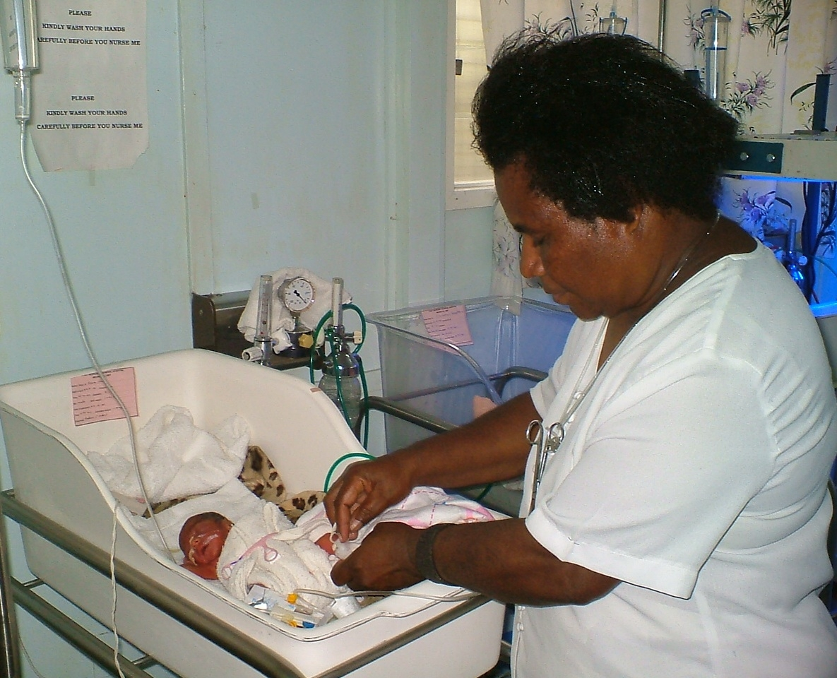 Special Care Nursery - Sister Theresa Meae attending to a baby at the Port Moresby General Hospital Special Care Nursery