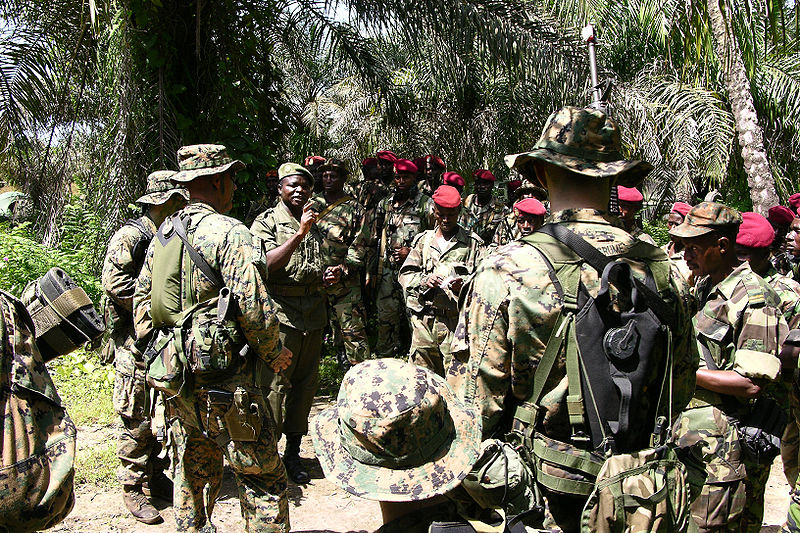 Members of Guinean military undertake a training