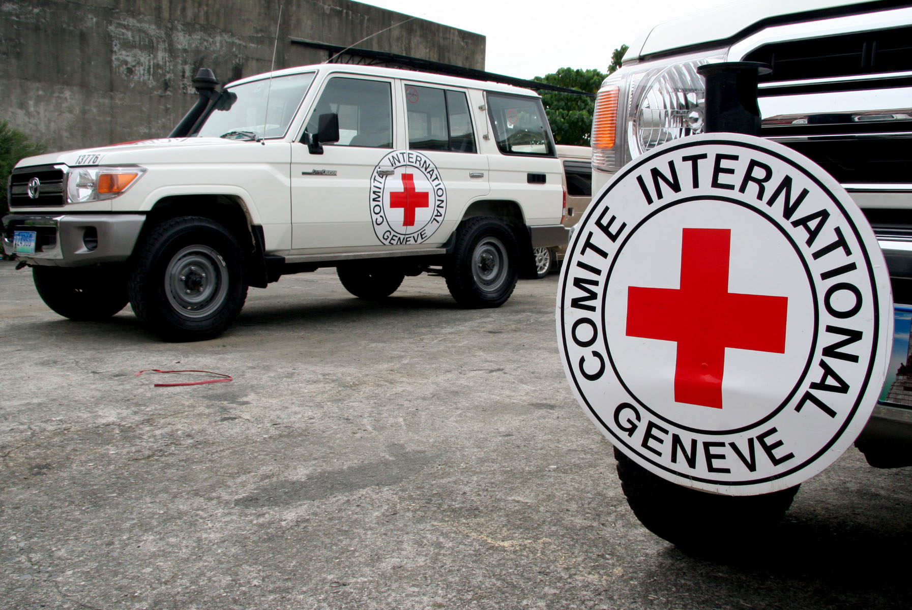 ICRC vehicles are grounded in a compound in the southern Philippine city of Davao City as troops search for three abducted ICRC staff in the volatile island of Jolo
