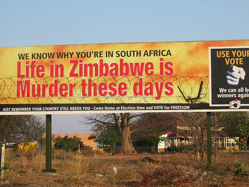 Poster in SA urging Zimbabweans to go home and vote