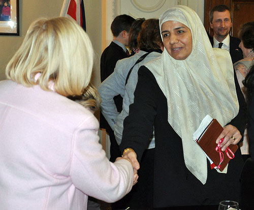 Nawal al-Samaraie, Iraq's former minister for women's affairs, shakes hands with the Rt Hon Ann Clwyd MP, the British prime minister's special envoy on human rights in Iraq