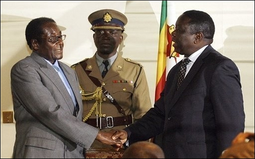 Deal sealed? President Robert Mugabe and Morgan Tsvanfirai