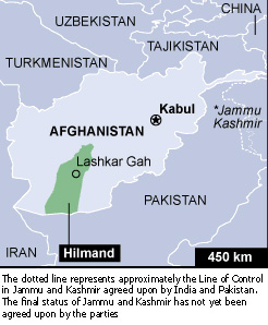 A map of Afghanistan highlighting the restive southern province of Hilmand (also spelt Helmand)