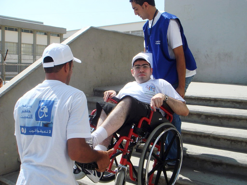 Danny Abu Haidar had to be carried into a polling station in Beirut's 2007 bi-election. A recent government decree aims to improve disabled access