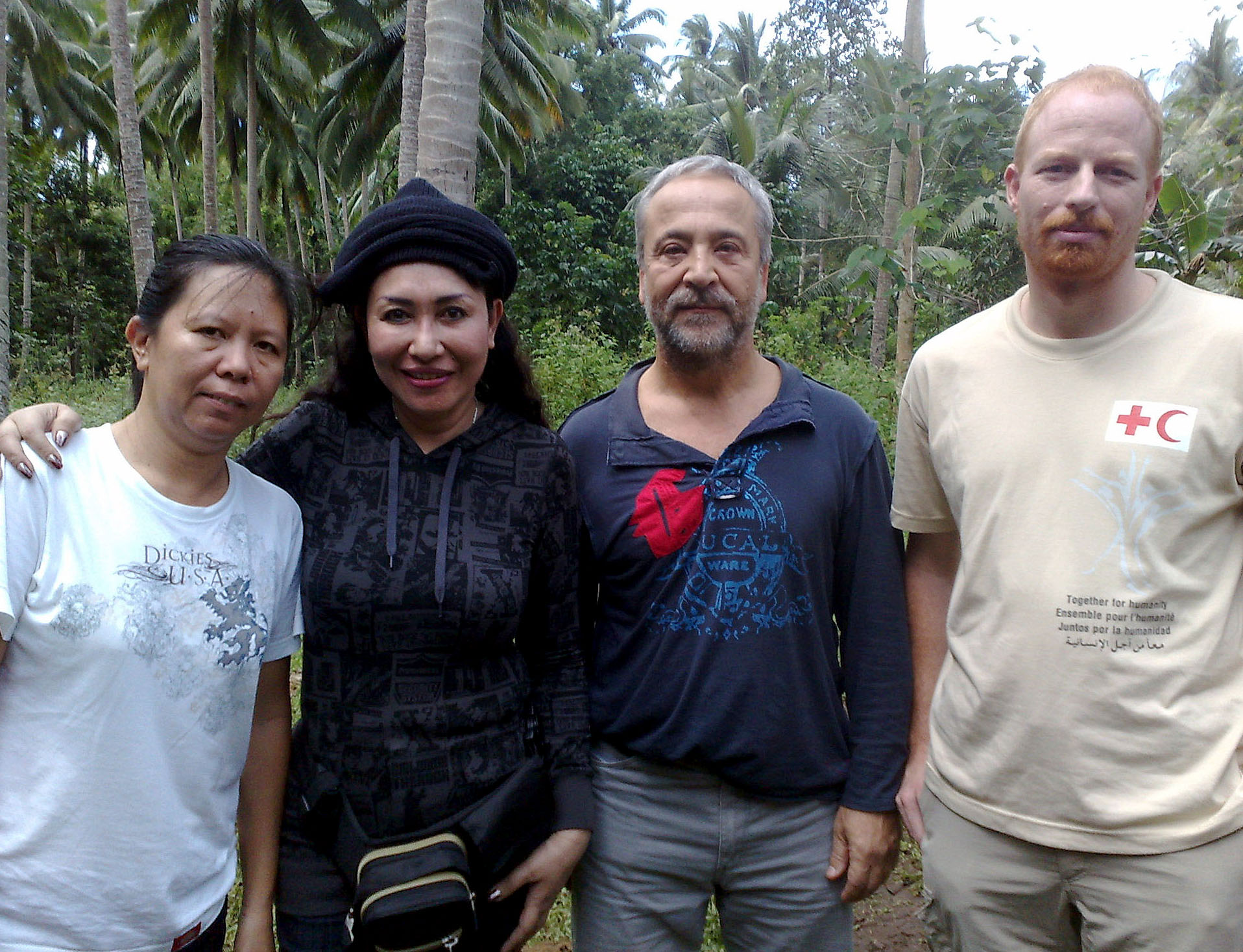 Somewhere on Jolo Island, Philippines - Vice Governor Lady Ann Sahidulla (2nd from right) is shown here in a group picture with three ICRC staff kidnapped by Abu Sayyaf militants in the southern Philippines. The picture was taken at an undisclosed area on