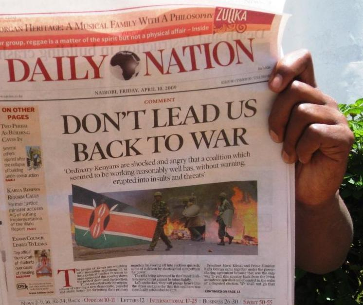 "In a rare front page editorial on 10 April, Kenya's biggest selling daily newspaper urges political leaders to sort out their differences in order to avoid the ""path of death and destruction"""