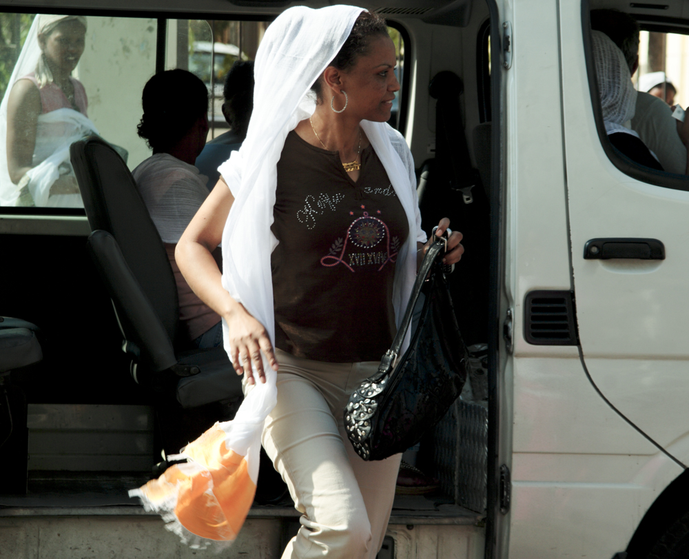 An Ethiopian woman arrives to meet friends after a church service in Beirut. Eighty Ethiopian women are currently in detention in Tripoli awaiting trial