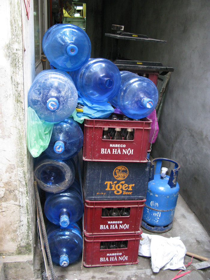 Empty 20-litre water bottles in Hanoi. Snce February 2009, health officials have been checking on cases of contaminated tap and bottled water