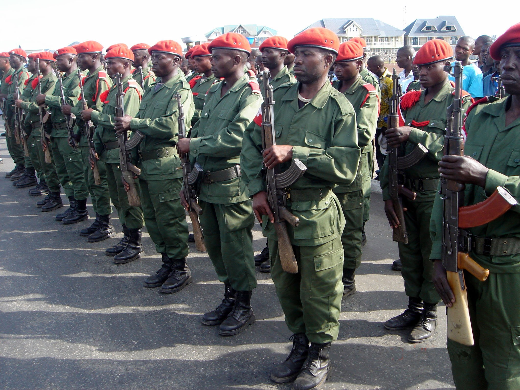 Former rebels and Mayi Mayi militiamen integrated in the national army of Democratic Republic of Congo on parade following an agreement signed in the eastern city of Goma by several armed groups to dissolve themselves on 18 April