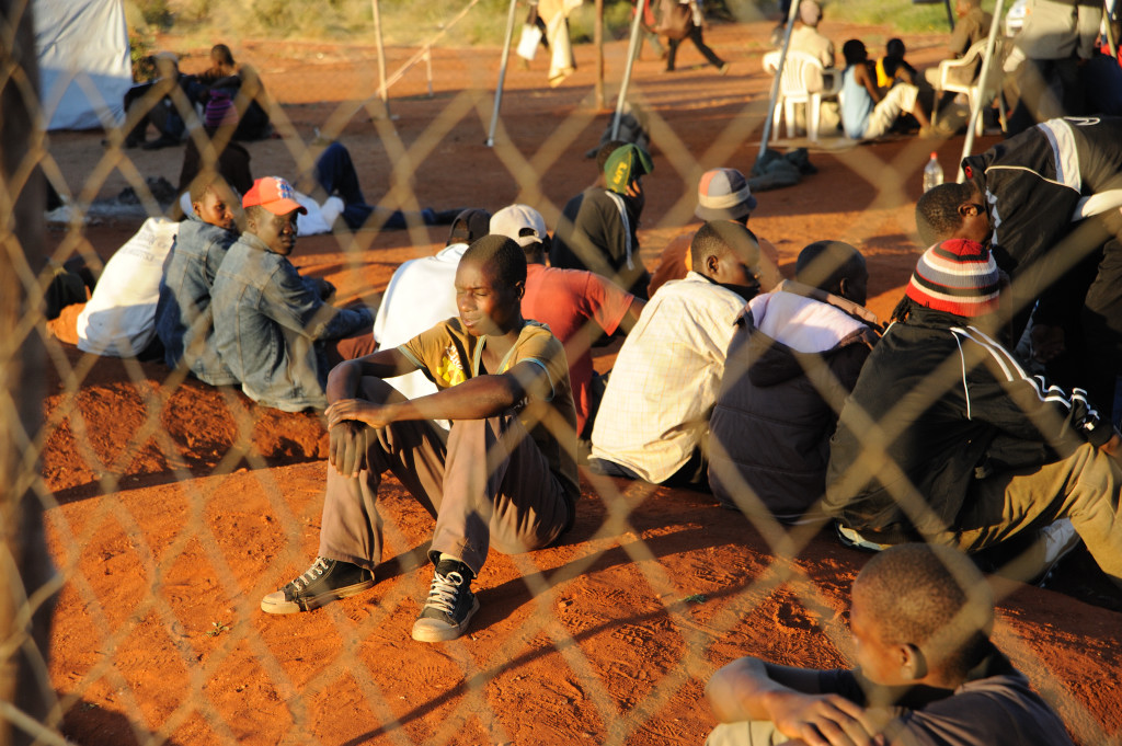 Zimbabwe asylum seekers at a temporary shelter in the South African border town of Musina