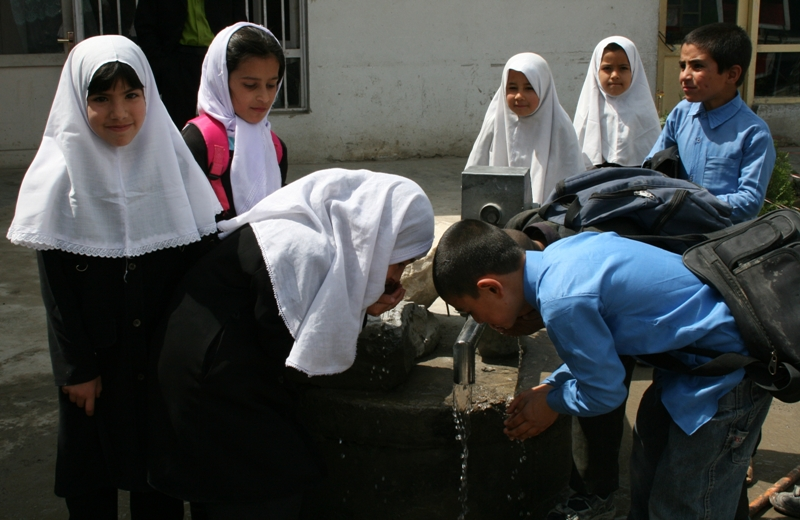 At least 40 percent of schools do not have drinking water and over 70 percent lack safe sanitation