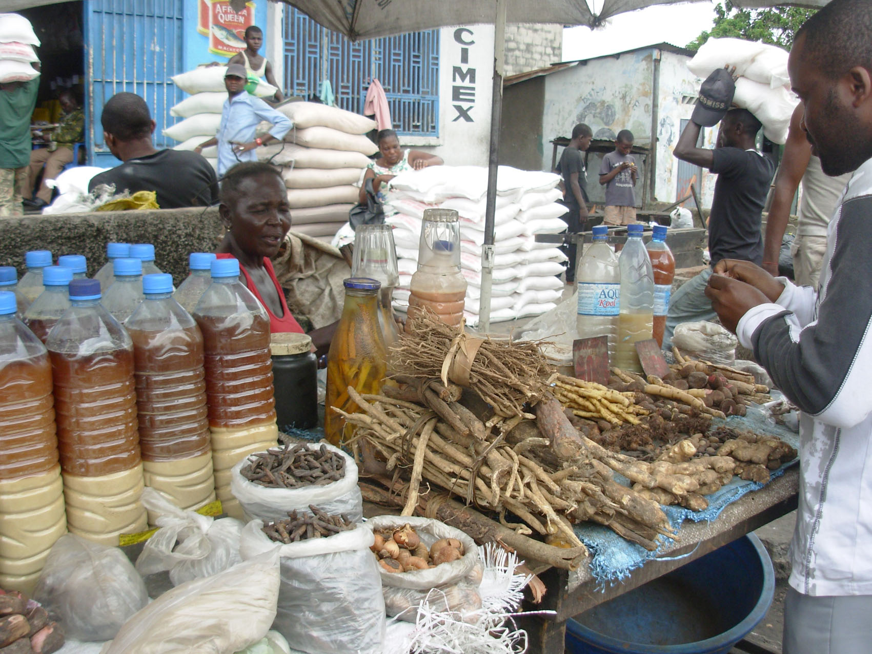 Traditional herbs and medicines on sale in a Kinshasa market. There is a ready market for such products, which are said to treat a variety of ailments, due to local beliefs and superstition