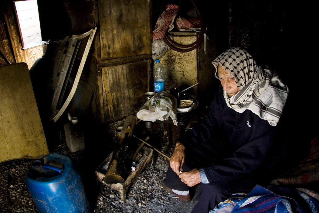 "Palestinian Ali Hindawi, 84, has lived in a shed in south Lebanon for over 30 years. Such ""gatherings"" receive few services from either UNRWA or the state"