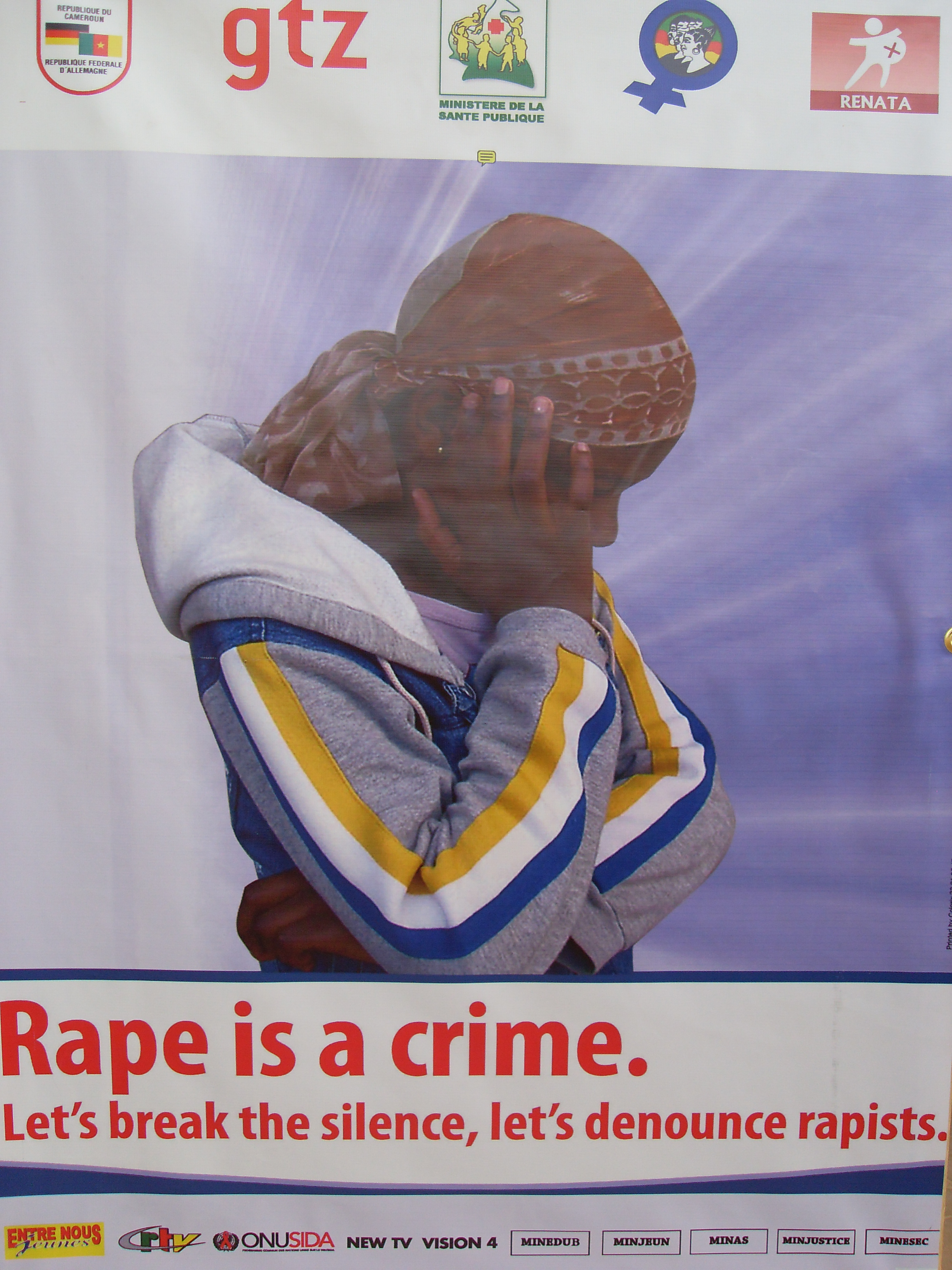 A poster being used as part of a campaign to denounce rape in Cameroon. May 2009