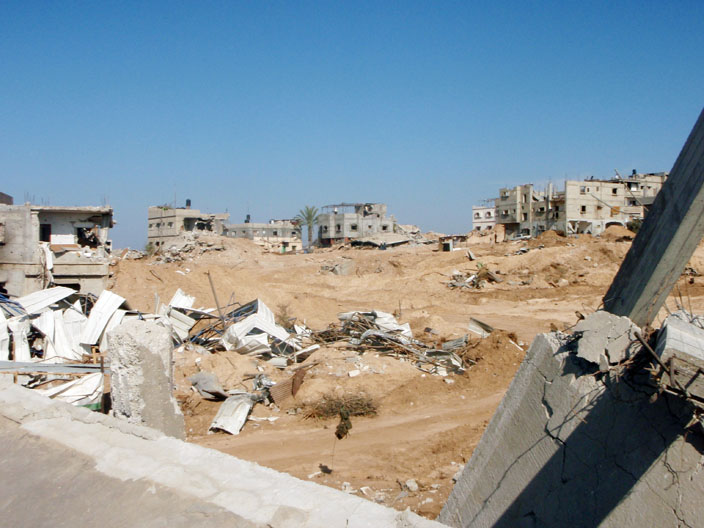 Houses destroyed by the Israeli army in Al Qerem area of East Jablia, Gaza