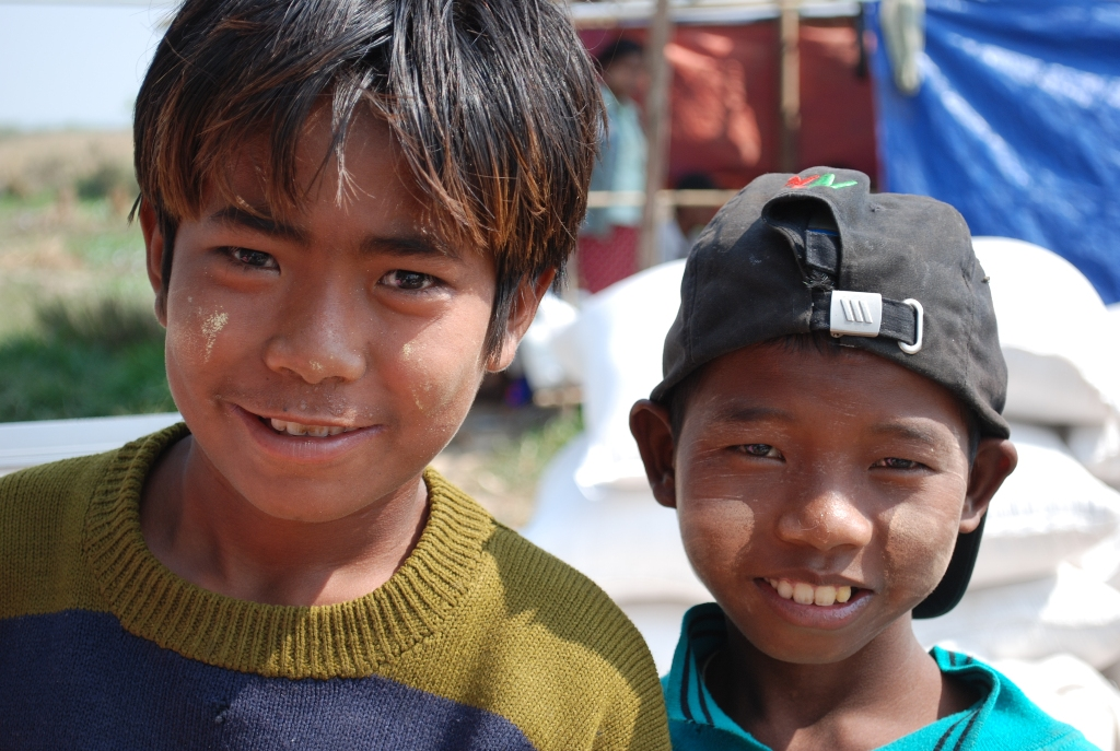 Two boys in Myanmar's cyclone-affected Ayeyarwady Delta