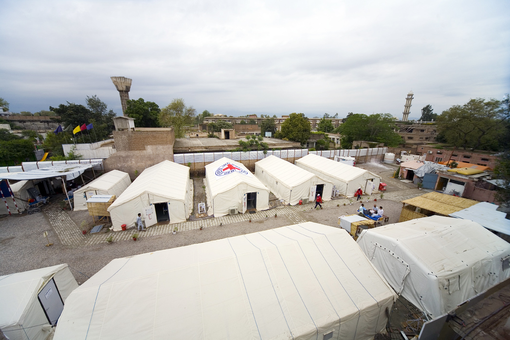 The International Committee of the Red Cross (ICRC) 80-bed, five ward, tented hospital in Peshawar has been taking in people with shrapnel, bullet and shell wounds, and severe burns