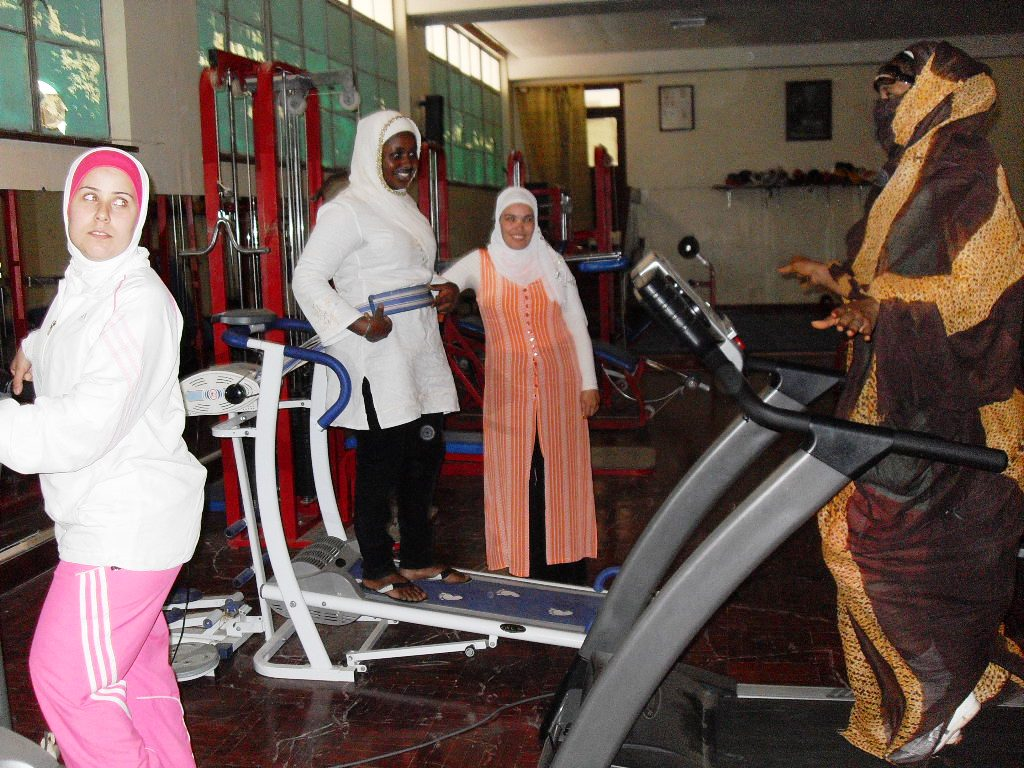 Women at a gym in Nouakchott, where the idea of obesity as beauty has been overtaken by realization that is is deadly