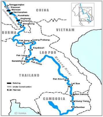 Map showing the flow of the Mekong river