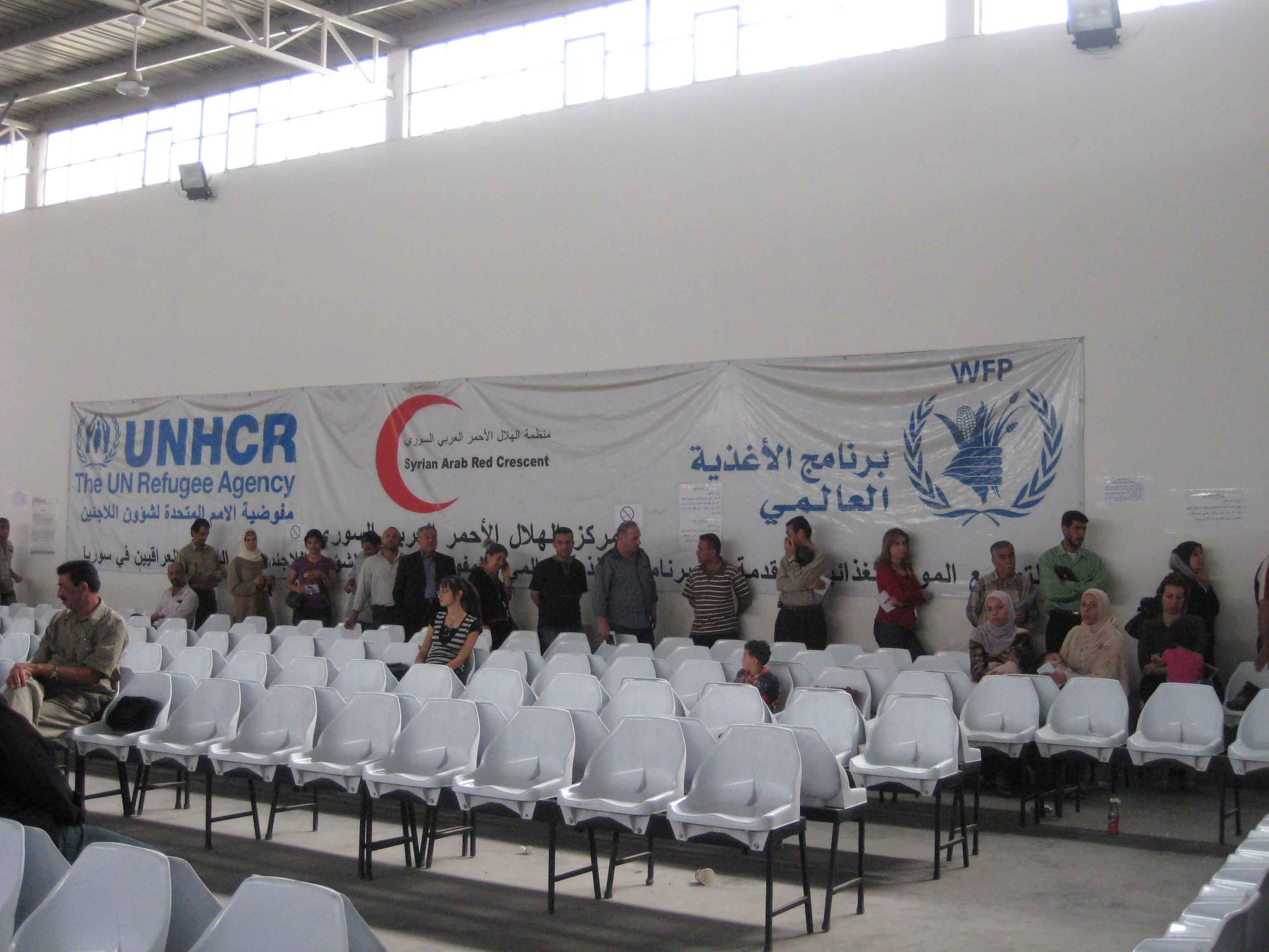 Iraqi refugees at the UNHCR centre in Duma