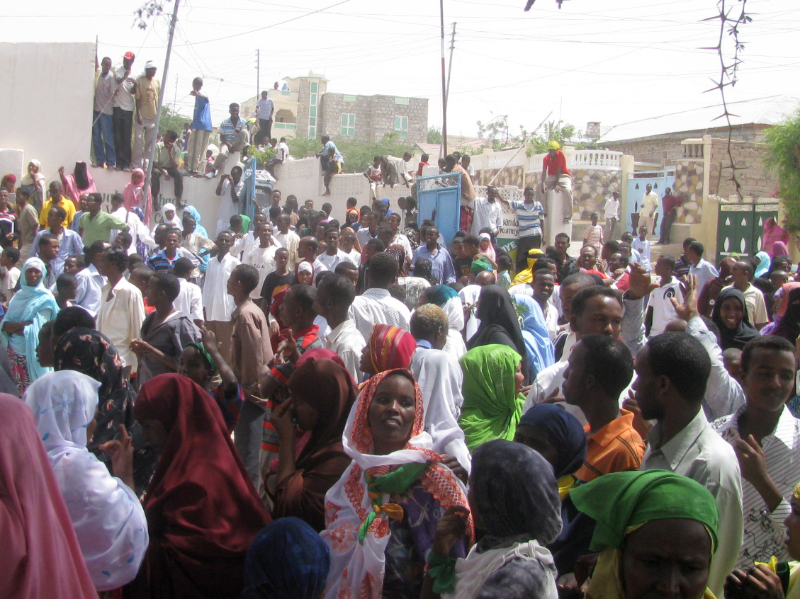 Opposition supporters demonstrating in Hargeisa, the capital of Somaliland, to protest the government's decision to hold presidential elections on 27 September without voter registration lists