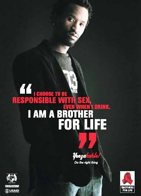 "Images from the ""Brothers for Life"" campaign, aimed at men in South Africa"