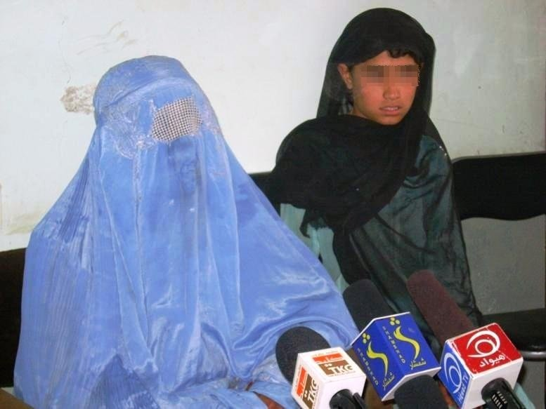 The mother of a raped girl talks about her daughter's predicament at press conference in Kandahar Province in August