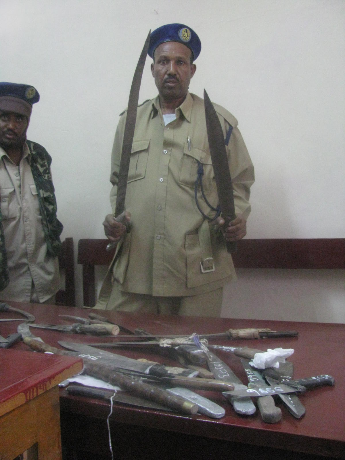 Knives recovered from street children in Hargeisa on display at the town's police station