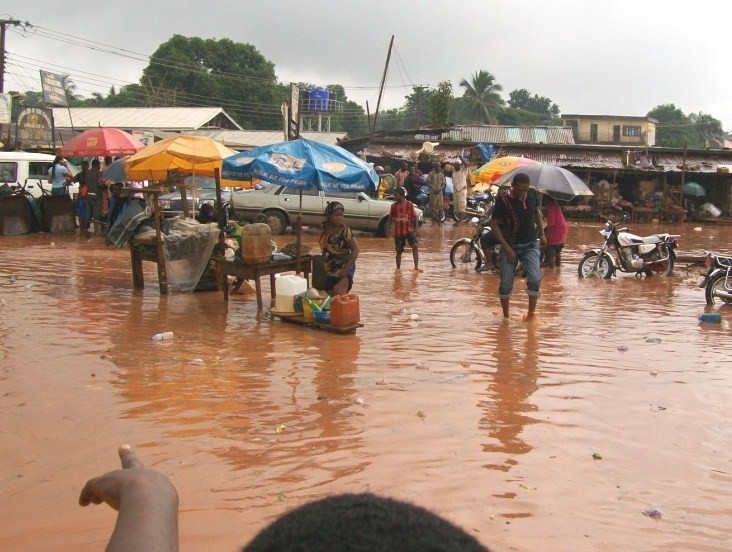 Floods in Afor-Igwe in Amanbra State of Nigeria, July 2009