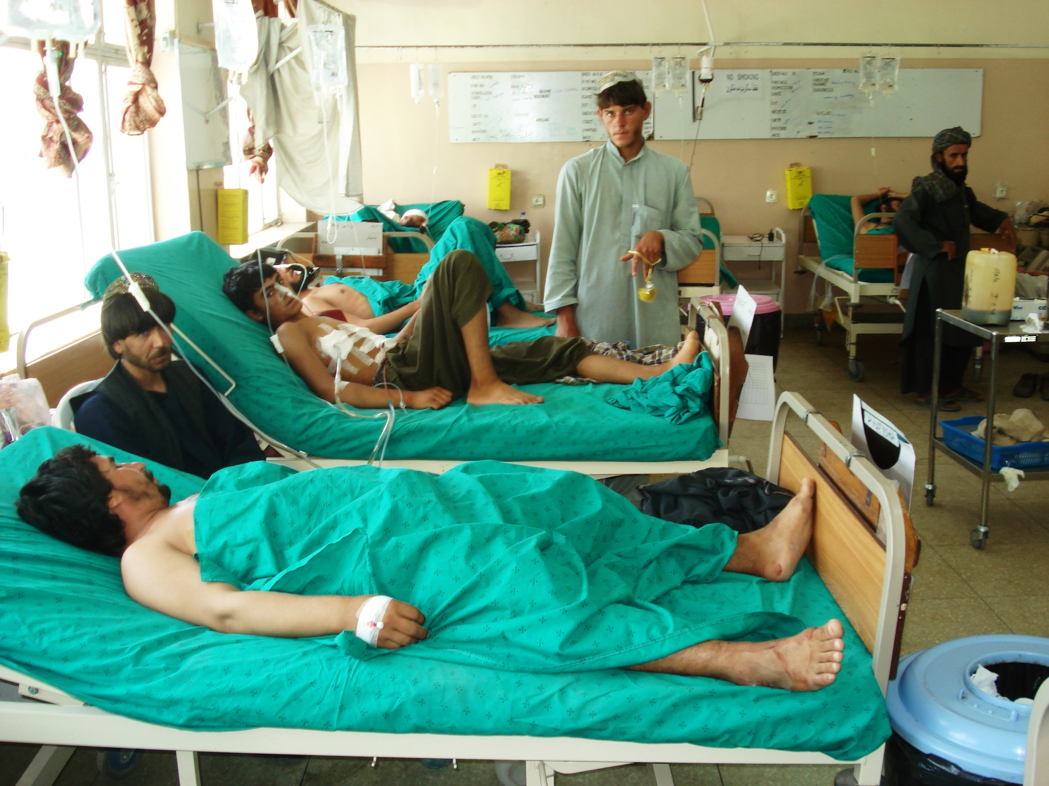 Wounded men in a hospital in Kandahar