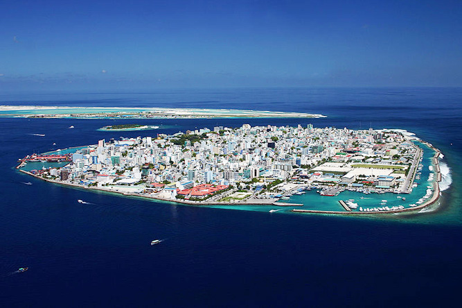 Male, the capital of the Republic of Maldives, an island country consisting of a group of atolls about 700km southwest of Sri Lanka. With an average ground level of 1.5 metres above sea level, it is the country with the lowest highest point in the world,