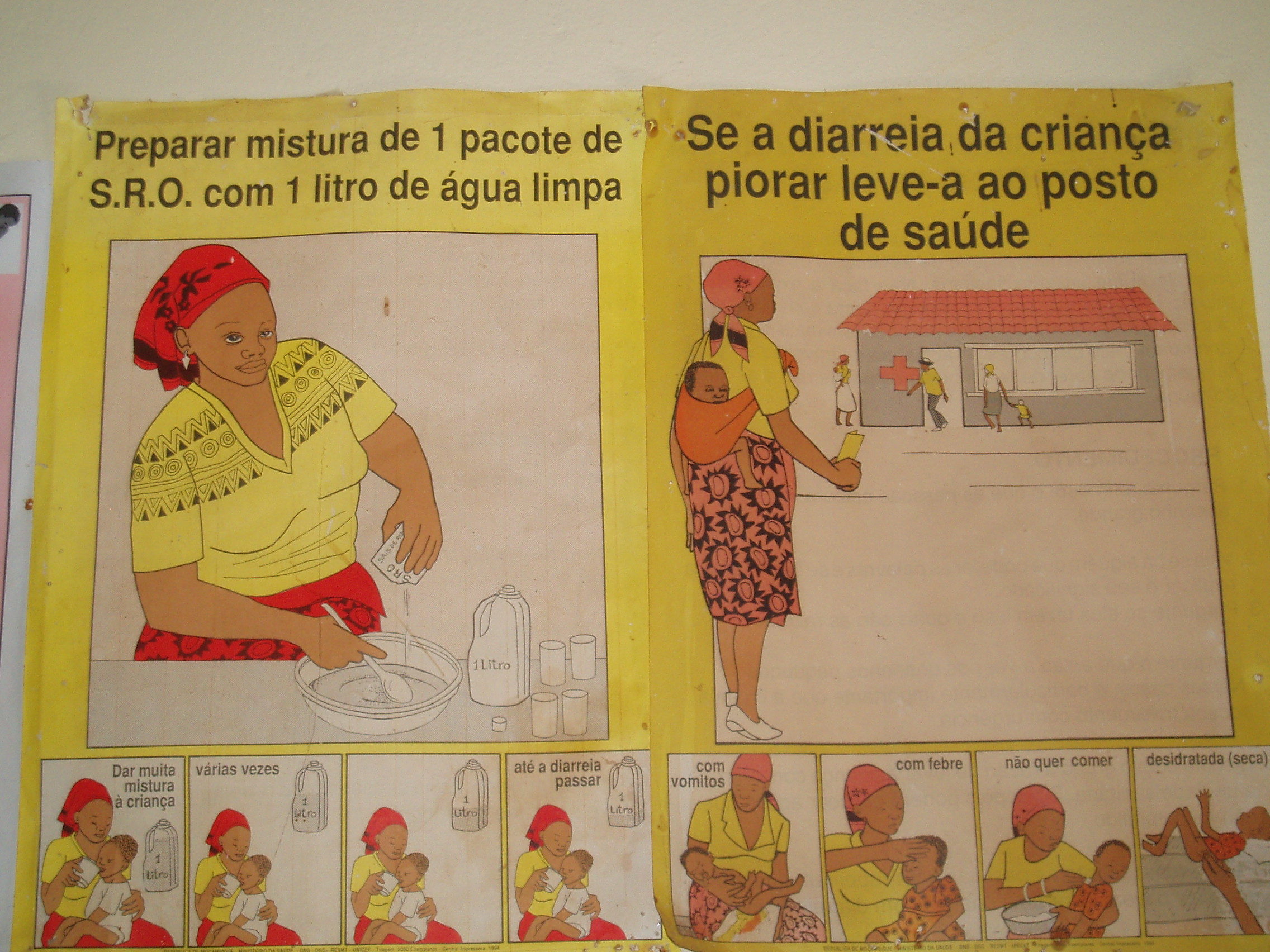 Poster in Bissau hospital showing what to do when a child has diarrhoea