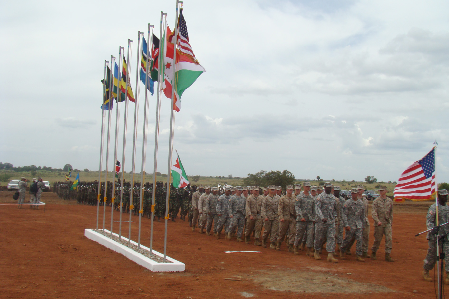 Soldiers from the United States and five east African countries march in Kitgum, northern Uganda, as part of Natural Fire 10, a 10-day exercise aimed at boosting capacity in fighting terrorism and responding to humanitarian crises