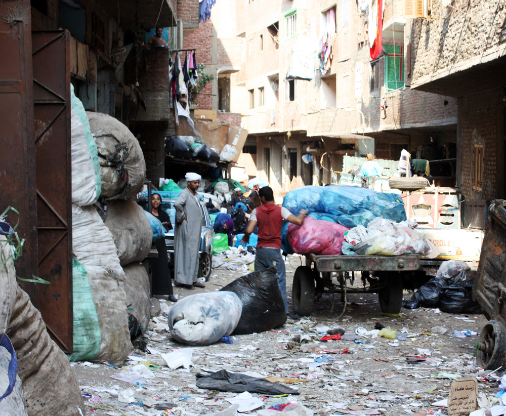 Unofficial garbage collectors, locally known as 'Zabalin', collect trash in Cairo and bring it to the suburbs where they live - in this case, al-Muqattem - to sort through for recycling to sell back to factories