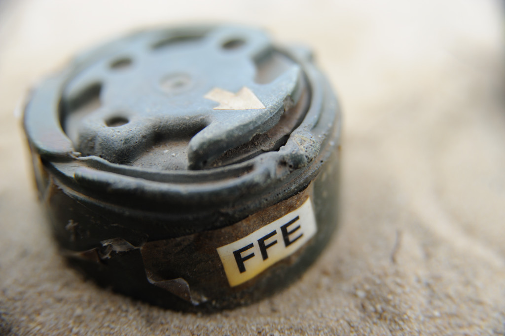 "A small mine, known as a ""toepopper"", designed to blow a foot off. FFE is the acronym for free from explosives"